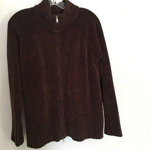 Denim & Co Brown Zip Up Sweater